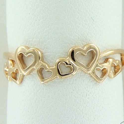 Кольцо из желтого золота 'Сердечки'