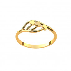 Кольцо из желтого золота 'Три сердечка'