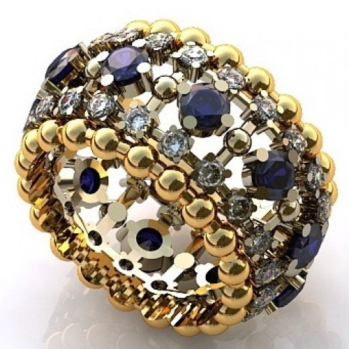 Кольцо из комбинированного золота c бриллиантами и сапфирами