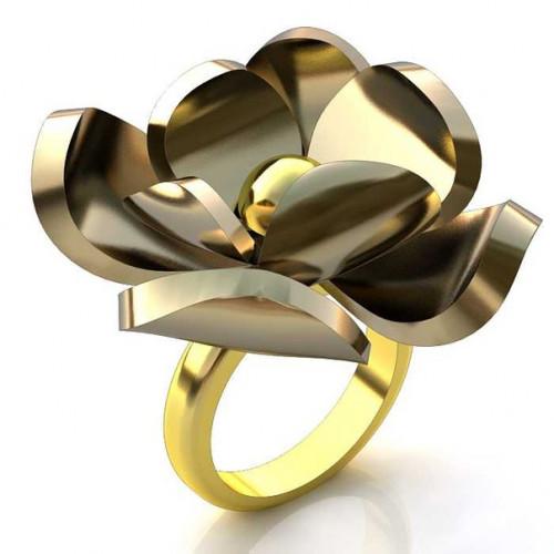 Кольцо из комбинированного золота 'Цветок'