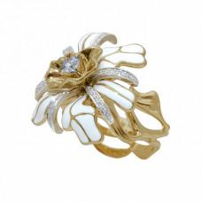 Кольцо из комбинированного золота с бриллиантами и эмалью