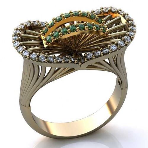 Кольцо из комбинированного золота с бриллиантами и изумрудами