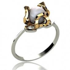 Кольцо из комбинированного золота с жемчугом