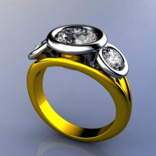 Кольцо из комбинированного золота с крупными бриллиантами