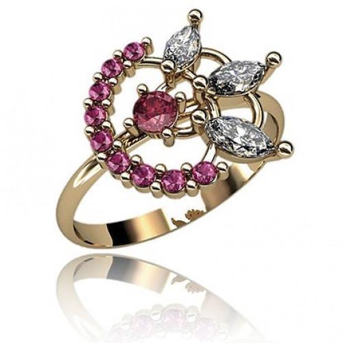Кольцо из красного золота с алмазами и рубинами