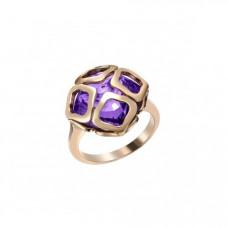 Кольцо из красного золота с аметистом..