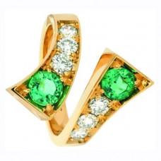 Кольцо из красного золота с бриллиантами и изумрудами..