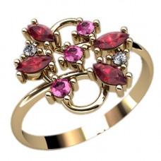 Кольцо из красного золота с бриллиантами и рубином..