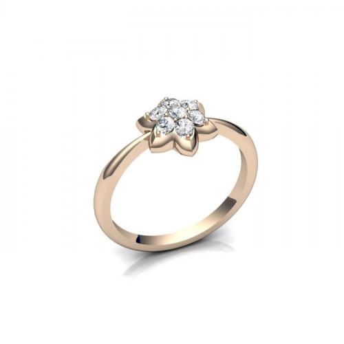 Кольцо из красного золота с бриллиантами в виде цветочка