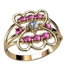 Кольцо из красного золота с бриллиантом и рубинами