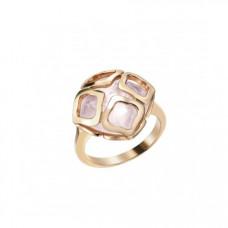 Кольцо из красного золота с горным хрусталем