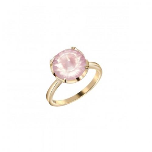 Кольцо из красного золота с розовым кварцем