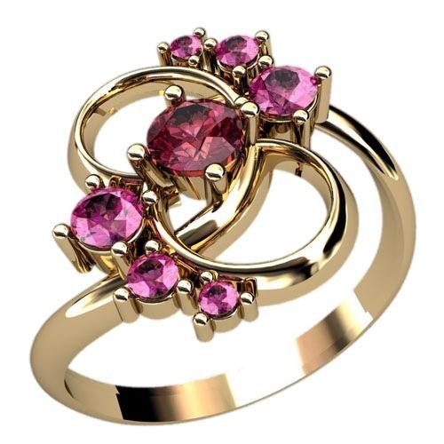 Кольцо из красного золота с рубинами