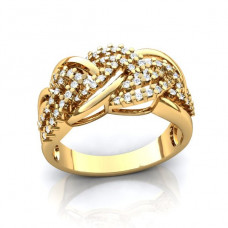 Кольцо 'Косичка' из желтого золота с бриллиантами