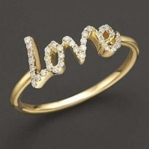 """Кольцо """"Love"""" из желтого золота с бриллиантами"""