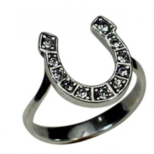 Кольцо 'Подкова на удачу'  из белого золота с бриллиантами