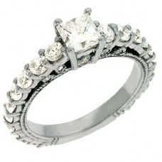 Кольцо помолвочное из белого золота с алмазом и бриллиантами