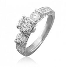 Кольцо помолвочное из белого золота с бриллиантами и алмазами