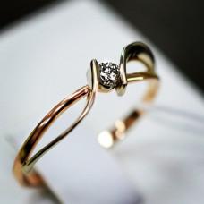 Кольцо помолвочное из желтого золота с бриллиантом..