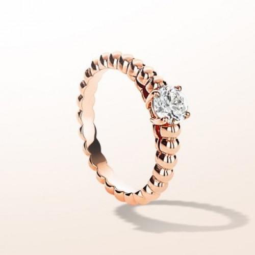Кольцо помолвочное из красного золота с одним бриллиантом