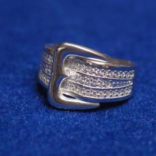 Кольцо 'Ремешок' из белого золота с бриллиантами