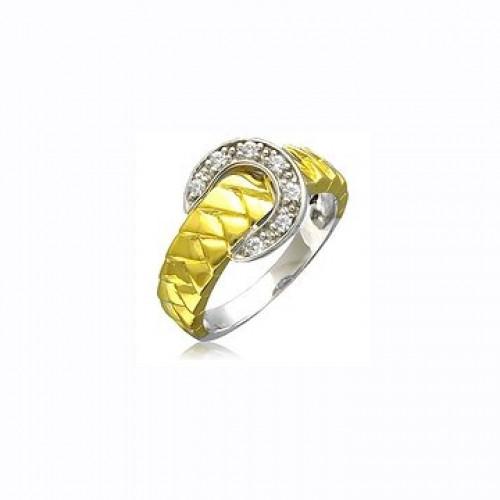 Кольцо 'Ремешок' из комбинированного золота с бриллиантами