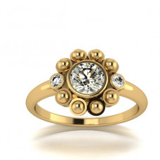 Кольцо 'Ромашка' из желтого золота с бриллиантами