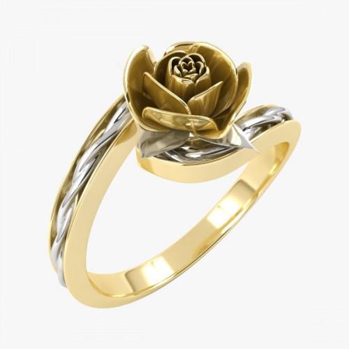 Кольцо 'Роза' из комбинированного золота