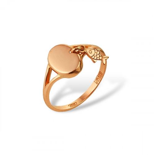 Кольцо 'Рыбка' из красного золота