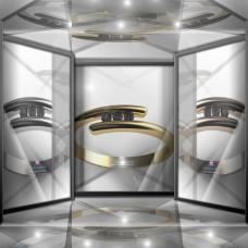 Кольцо с дорожкой черных бриллиантов