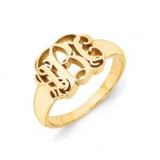 Кольцо с инициалами из желтого золота..