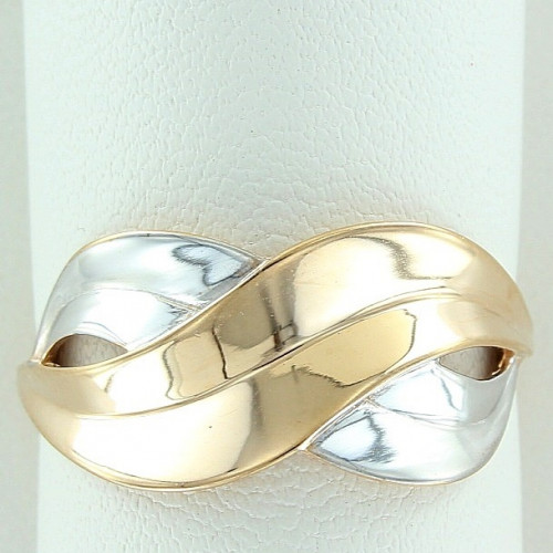 Кольцо 'Восьмерка' из комбинированного золота