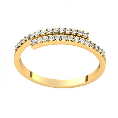 Миниатюрное кольцо из желтого золота с бриллиантами