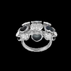 Обручальное кольцо из белого золота с бриллиантами и эмалью..