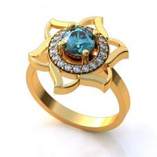 Обручальное кольцо из желтого золота с топазом и бриллиантами..