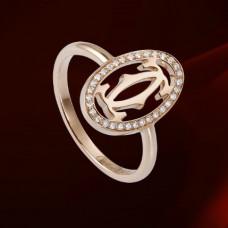 Обручальное кольцо из красного золота с бриллиантами..