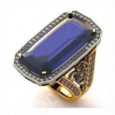 Перстень из комбинированного золота с бриллиантами и сапфиром