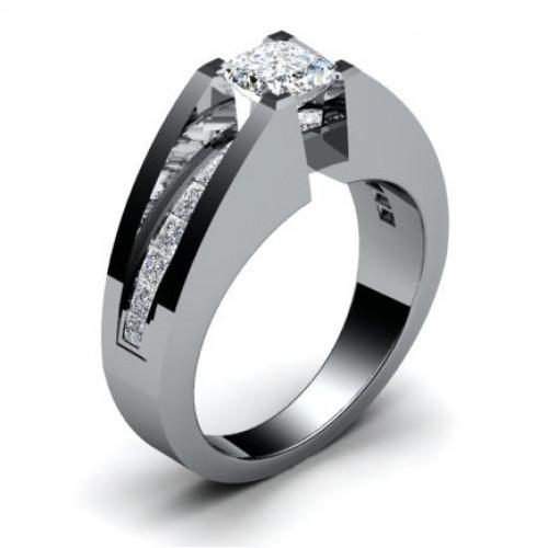 Помолвочное кольцо из белого золота с алмазами