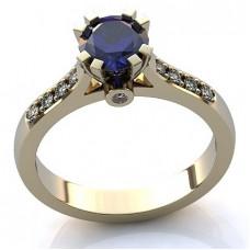 Помолвочное кольцо из белого золота с бриллиантами и сапфиром