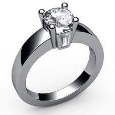 Помолвочное кольцо из белого золота с бриллиантом и алмазами..