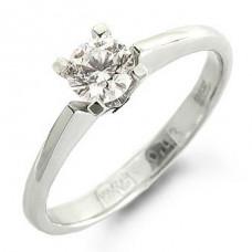 Помолвочное кольцо из белого золота с бриллиантом..