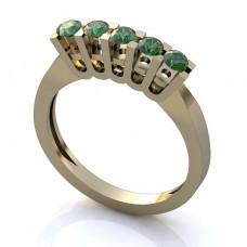 Помолвочное кольцо из белого золота с изумрудами..