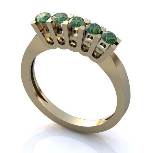 Помолвочное кольцо из белого золота с изумрудами