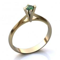 Помолвочное кольцо из белого золота с изумрудом