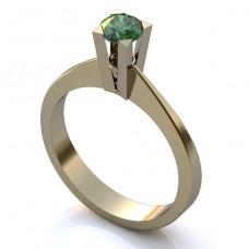 Помолвочное кольцо из белого золота с изумрудом..