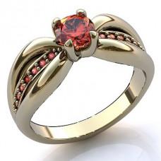 Помолвочное кольцо из белого золота с рубинами..