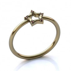 Помолвочное кольцо из белого золота с рубинами