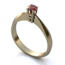 Помолвочное кольцо из белого золота с рубином..