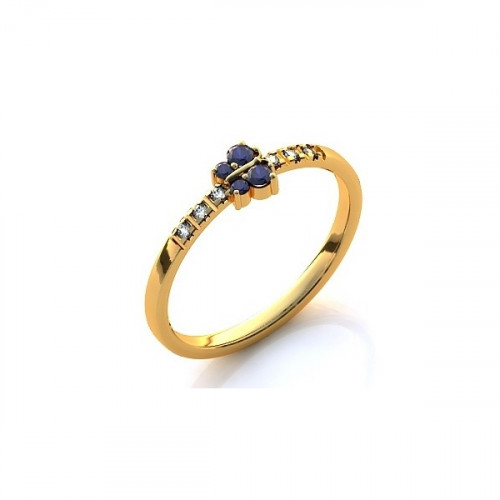 Помолвочное кольцо из желтого золота с бриллиантами и сапфирами
