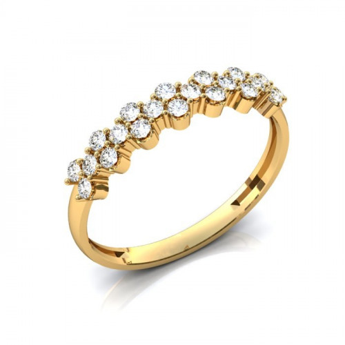 Помолвочное кольцо из желтого золота с двадцатью бриллиантами